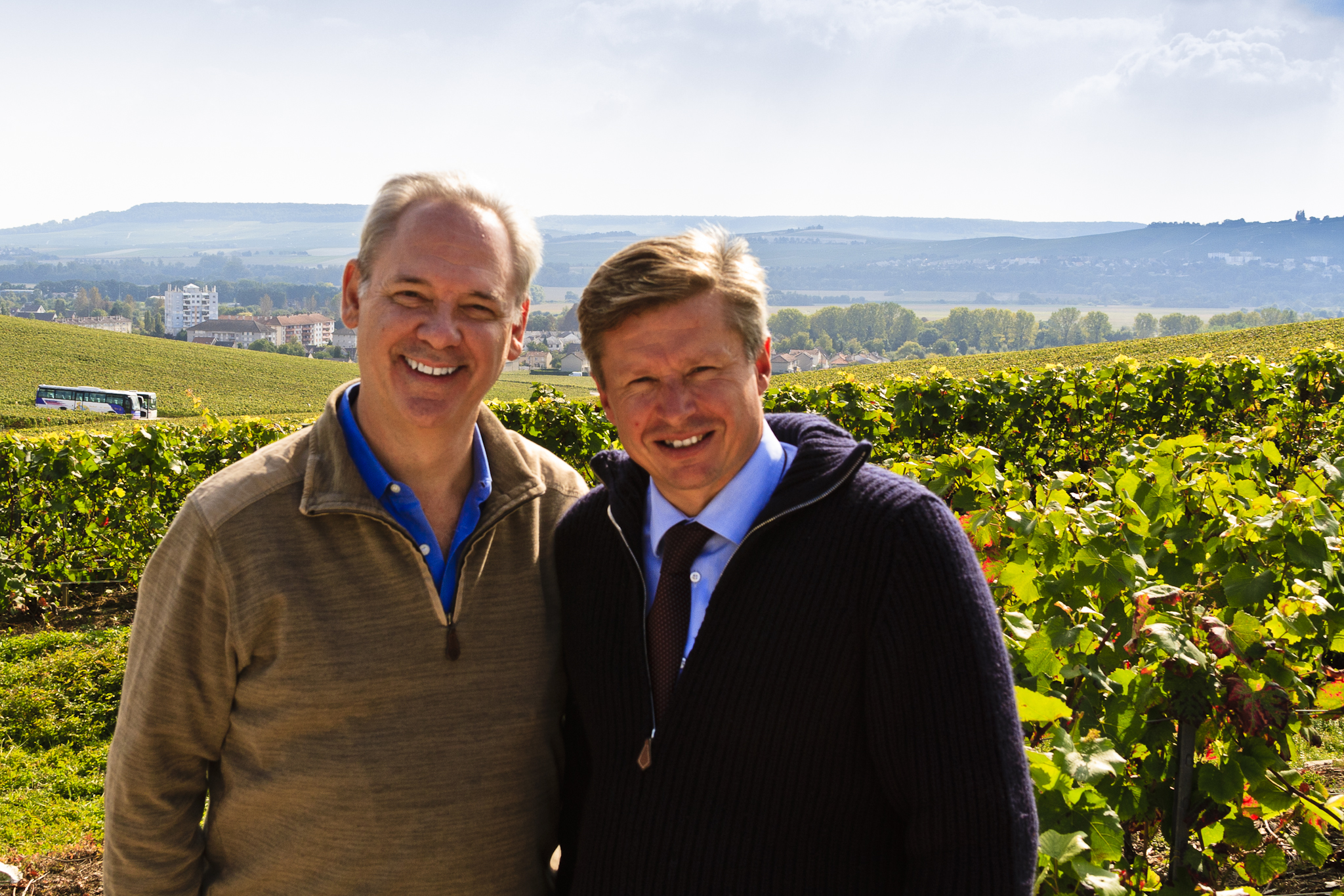 In the vineyards of Aÿ with my friend Jean-Baptiste Lécaillon of Champagne Louis Roederer