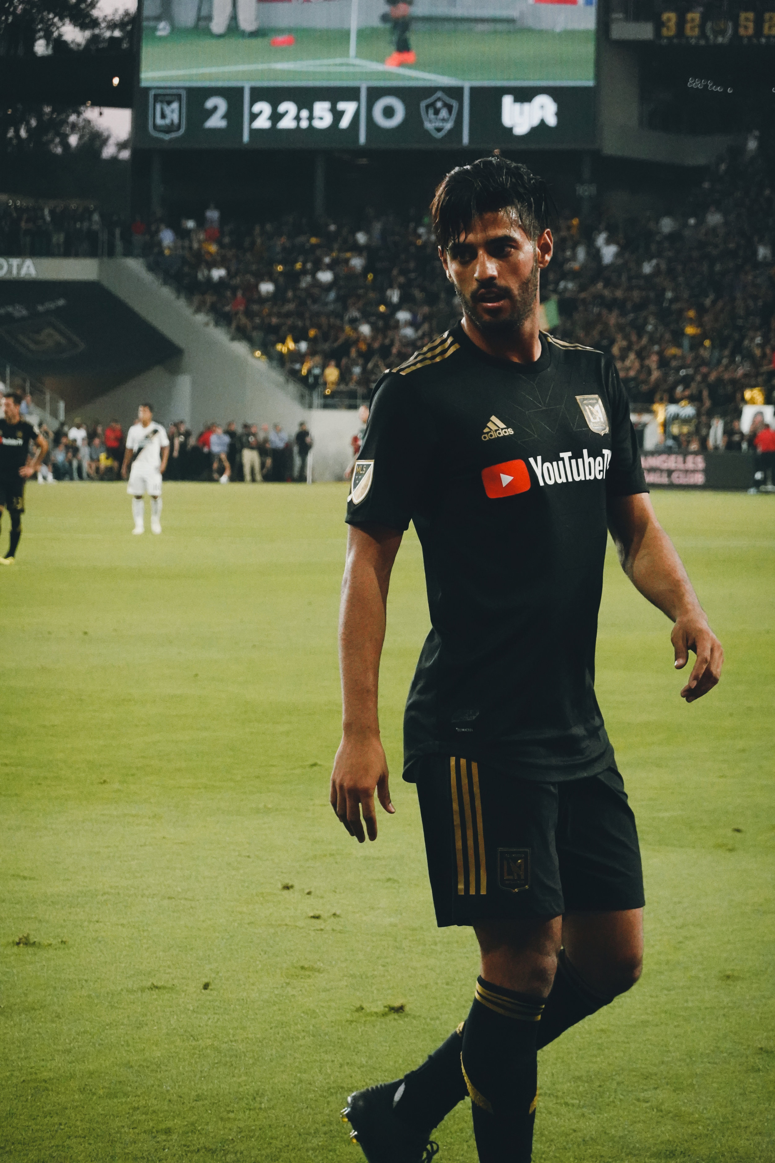 Carlos Vela plays in the first LA Derby game at Banc of California Stadium.