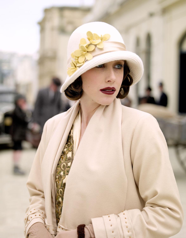 Woman wearing vintage coat