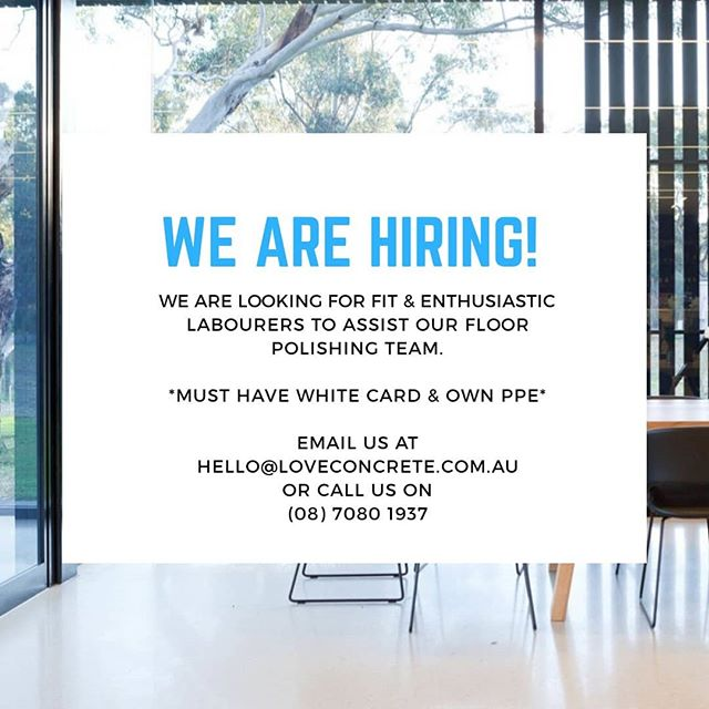 Did you know we are hiring? We are looking for fit and enthusiastic labourours to join our LC floor polishing team!  If you have your white card, own PPE and are incredible at what you do, get in contact with us today at hello@loveconcrete.com.au or call us on (08) 7080 1937