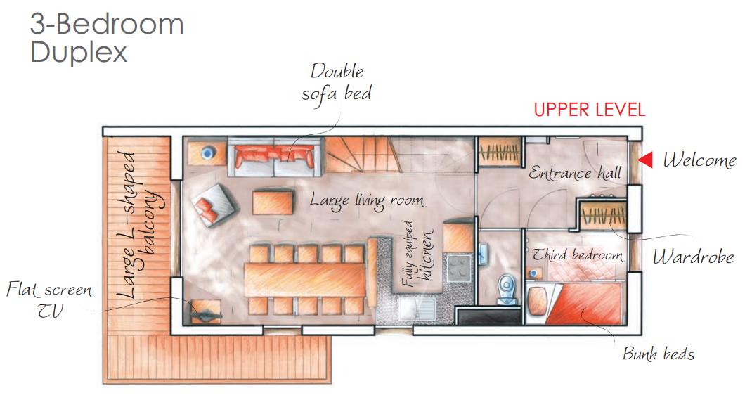 - 3 légteres 8 fős apartman + kabin : 61m2