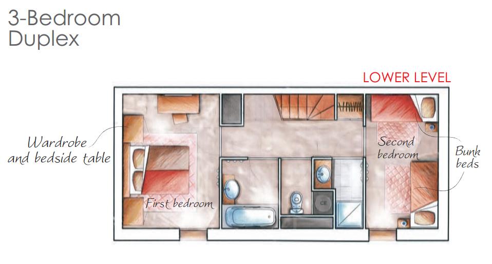 - - Nappali (franciaágy, terasz, étkező, konyha)- Háló (emeletes ágy)- Háló2(franciaágy vagy 2 szimpla ágy)- Háló3(franciaágy vagy 2 szimpla ágy)- Egyéb (zuhanyzó, fürdőszoba, külön WC)