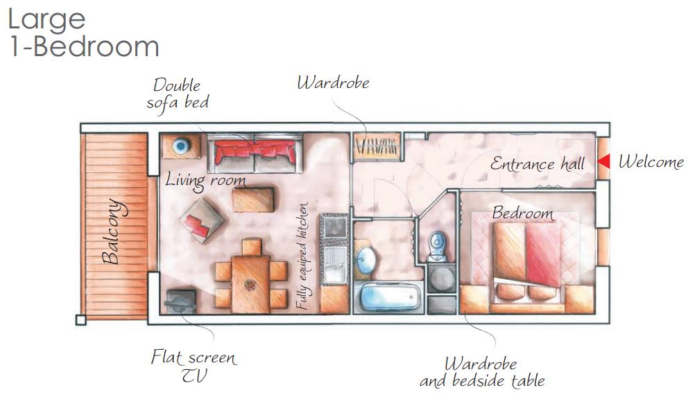 - 2 légteres 4 fős apartman : 32m2- Nappali (kihúzható franciaágy, étkező, konyha, terasz)- Hálószoba (franciaágy)- Egyéb (fürdőszoba, külön WC)
