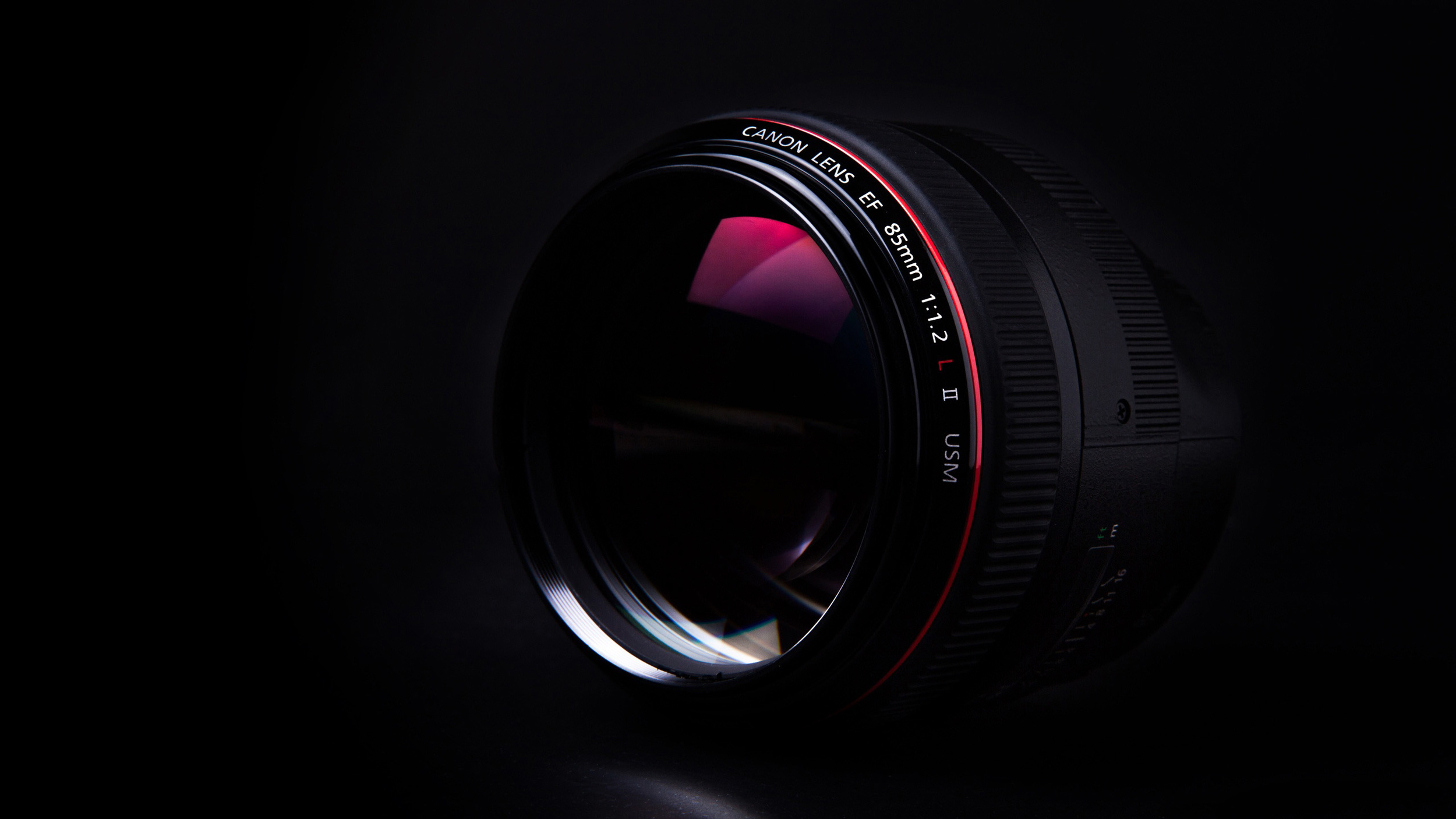 Beautiful DJD Canon lens on black background