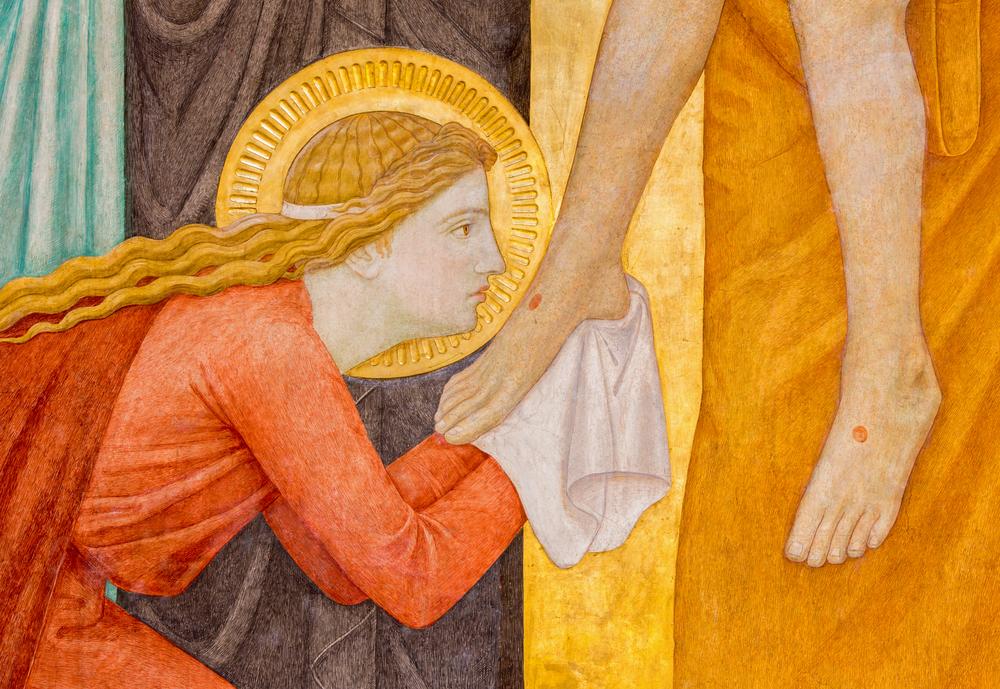 Detail from Deposition of the cross scene over st. John of the Cross side altar by P. Verkade (1927) in Carmelites church in Dobling.