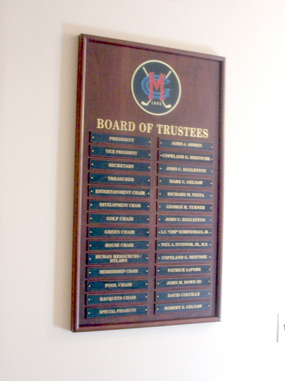 Board of Trustees Plaque