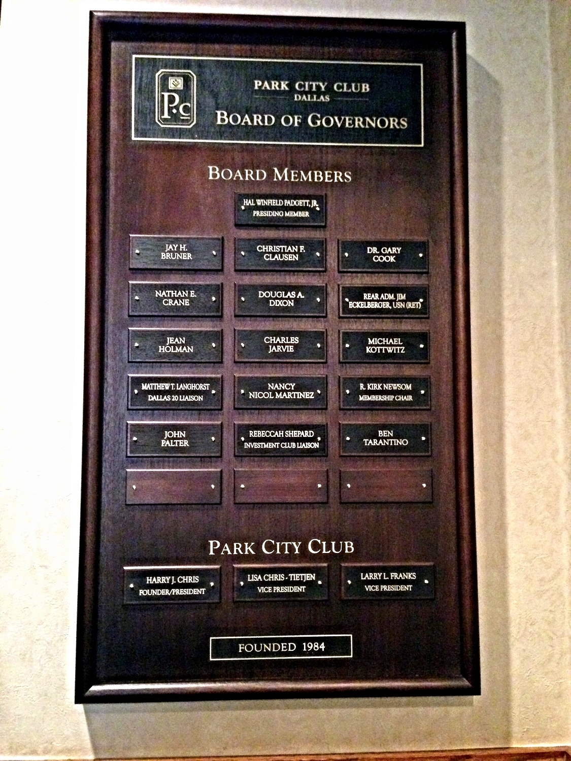 Board Of Directors Plaque