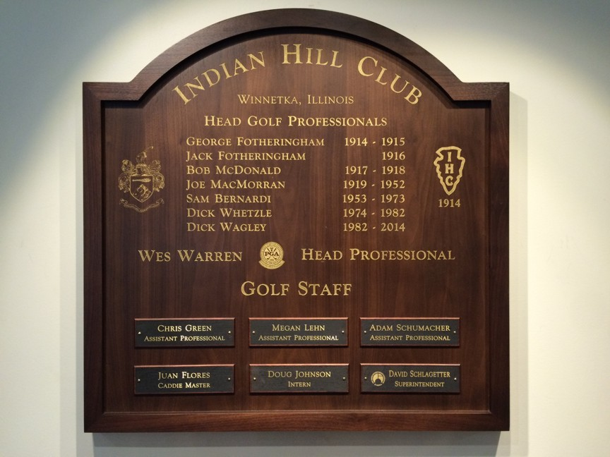 PGA Staff Board  Indian Hill Club  Walnut plaque with Gold Leaf