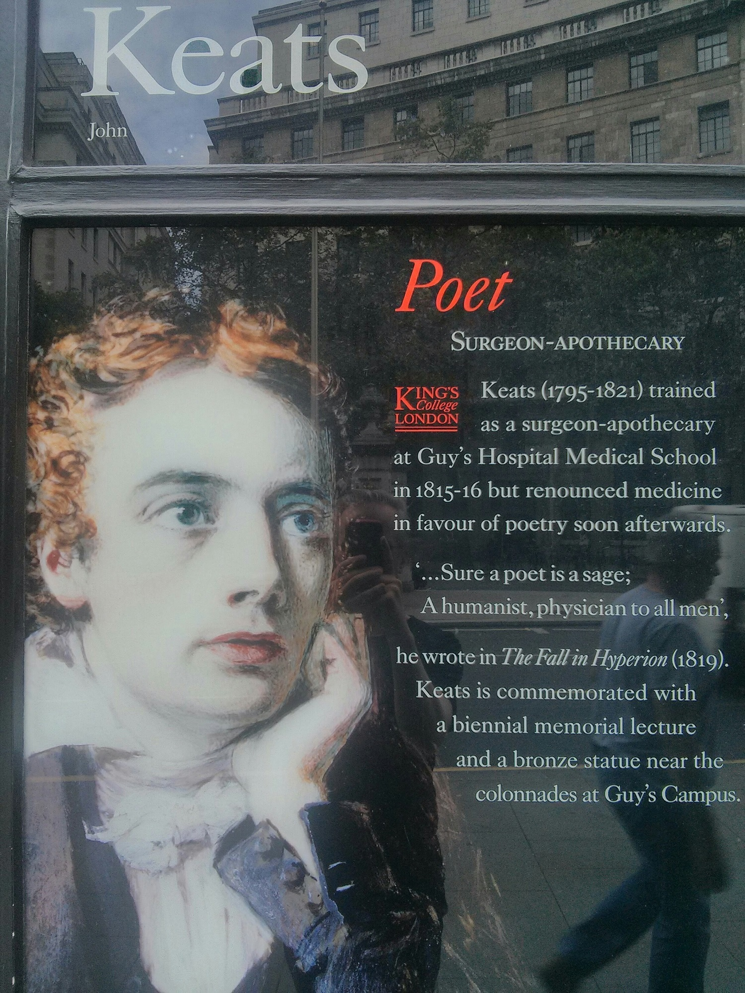 Keats: alumnus of King's college and my favourite romantic poet
