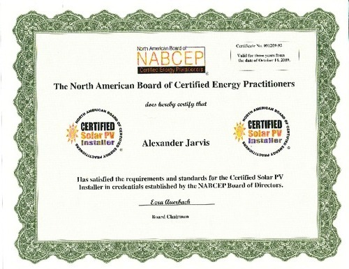 Certification Resume Solar Systems Of Indiana