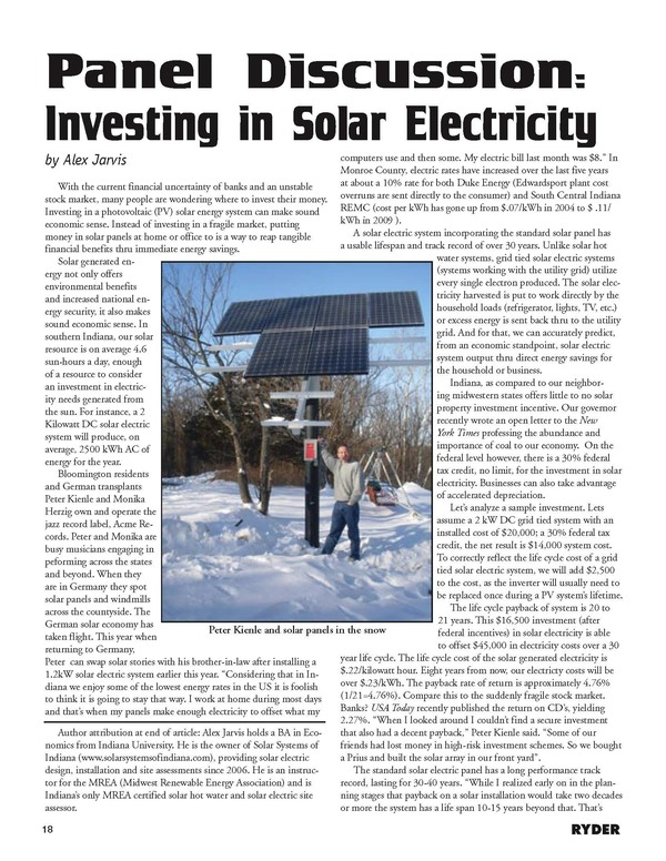 Write up on Solar Systems of Indiana by Alex Jarvis, published in The Ryder (2009)