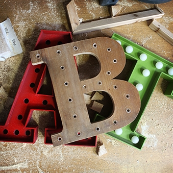 our wooden letter light prototype