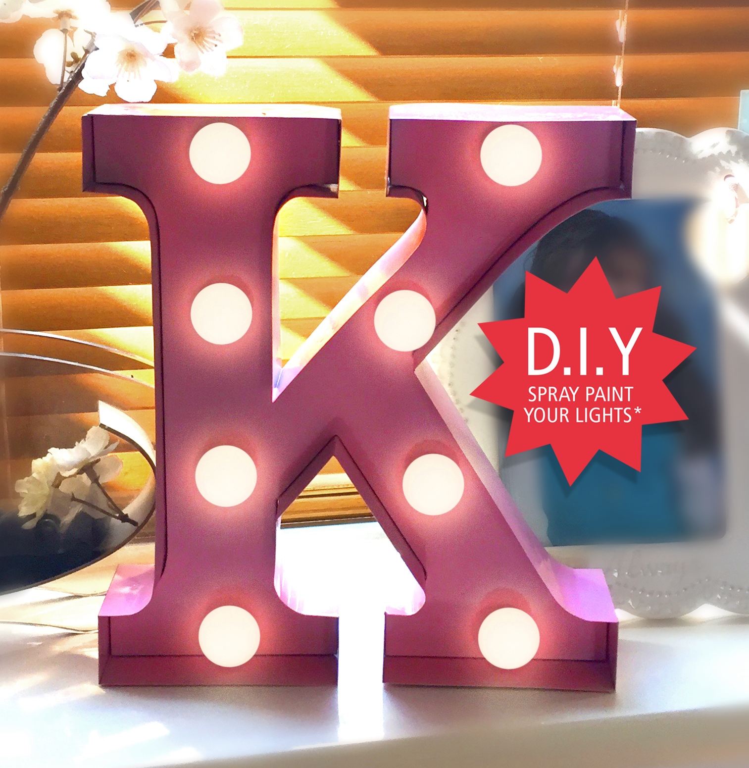 Why not add a personal touch to your lights and colour to suit your style!  Unscrew all of the lights and spray with spray paint. Take care when spraying. D.I.Y tutorials coming soon.