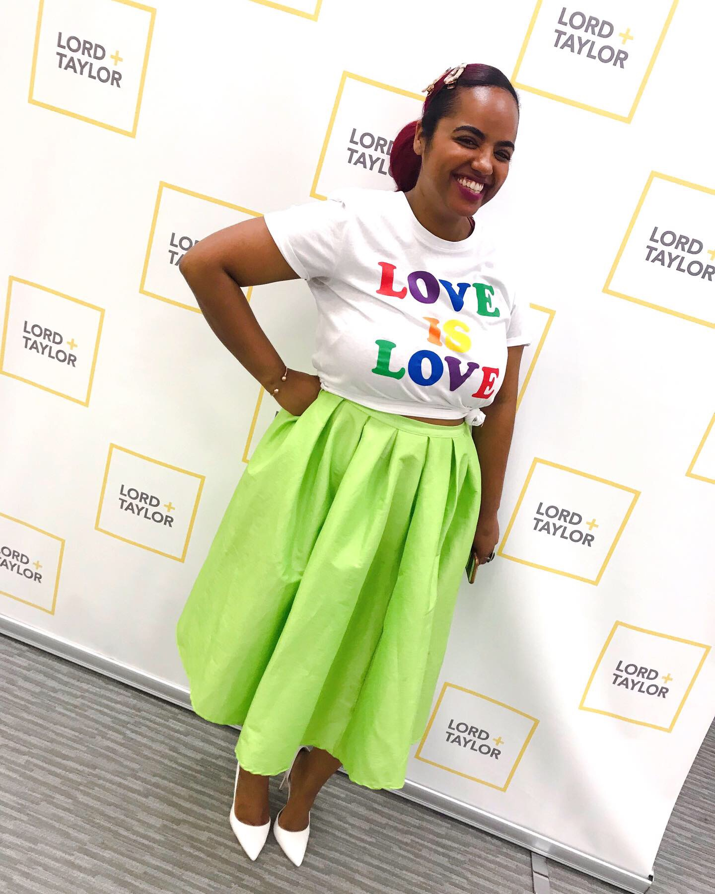 Top : Lord & Taylor - Pride Collection  Skirt : SheInside  Shoes:  Jessica Simpson