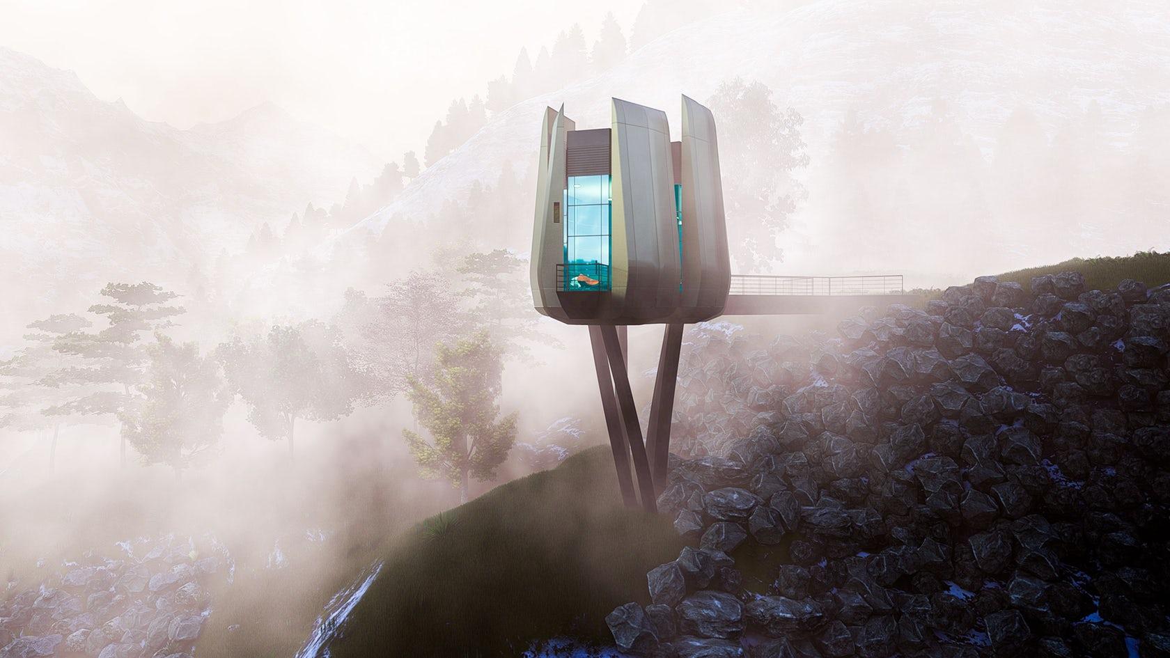 Futuristic Sustainable Mountain Pod By EA-Lab