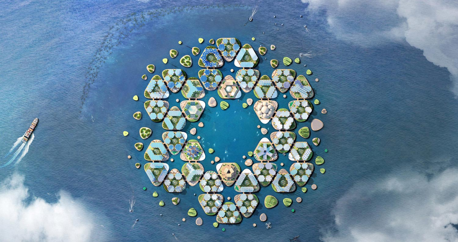 Oceanix City includes hexagonal modules that can accommodate up to 10,000 people