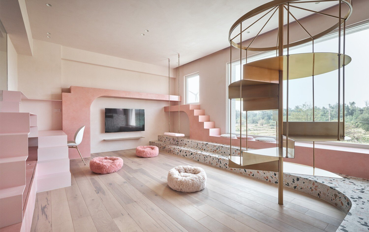 Kc Design Studio Builds A Relaxing Space Of Cats Pink House Visual Atelier 8