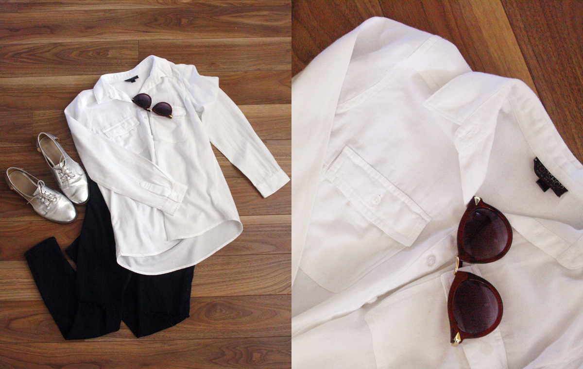 Topshop Leigh Jeans , Topshop White Shirt ( similar here ), ASOS Brogues, Ebay Sunglasses