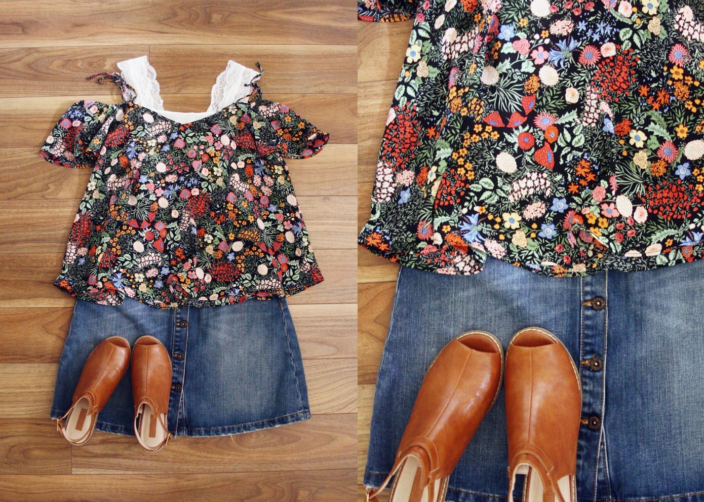 Topshop Top, Vero Moda Bralet via ASOS, Zara Skirt, Topshop Shoes