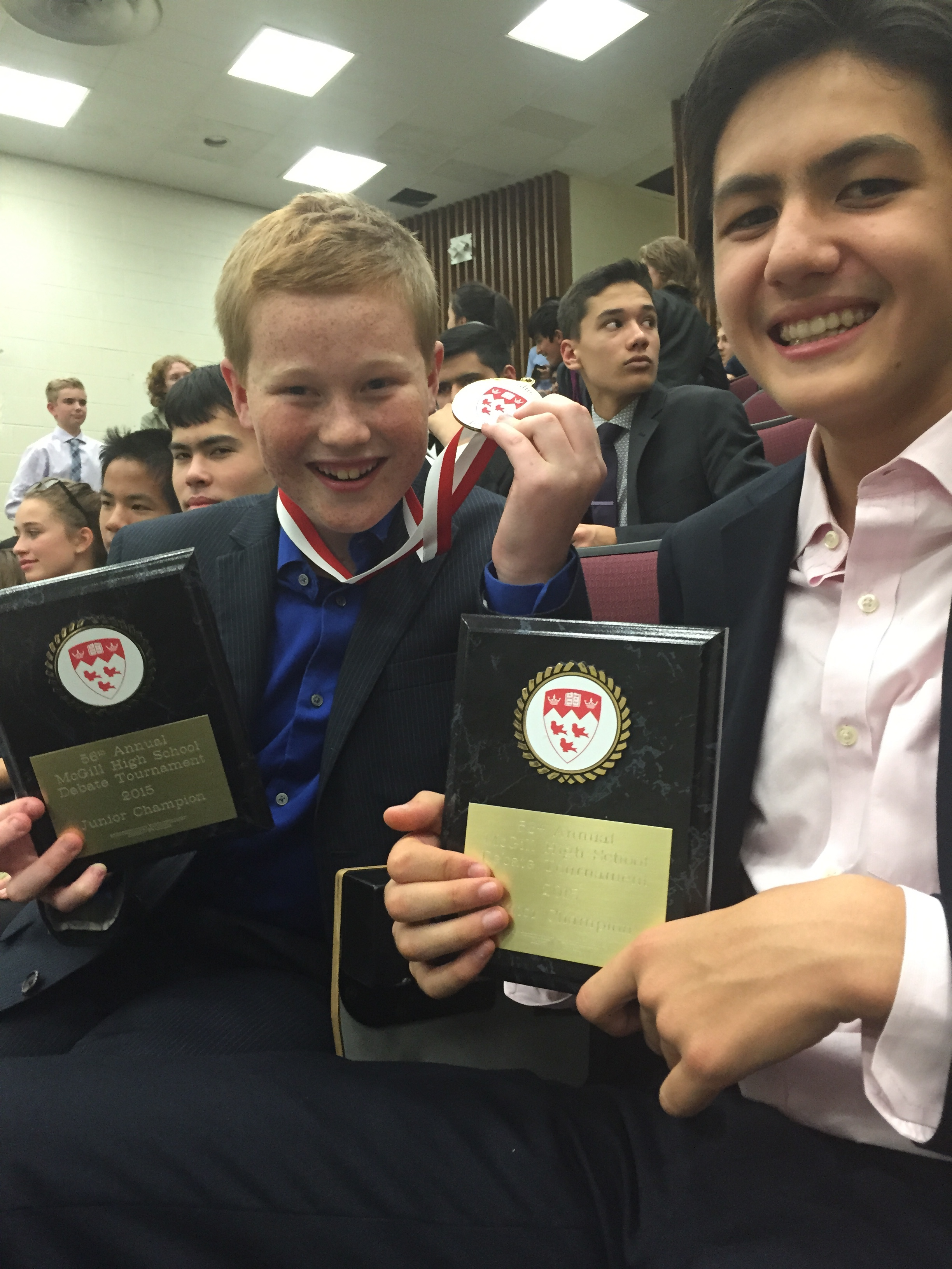 Patrick got top Junior Speaker of the Tournament;Ben Small took 3rd Novice Speaker.