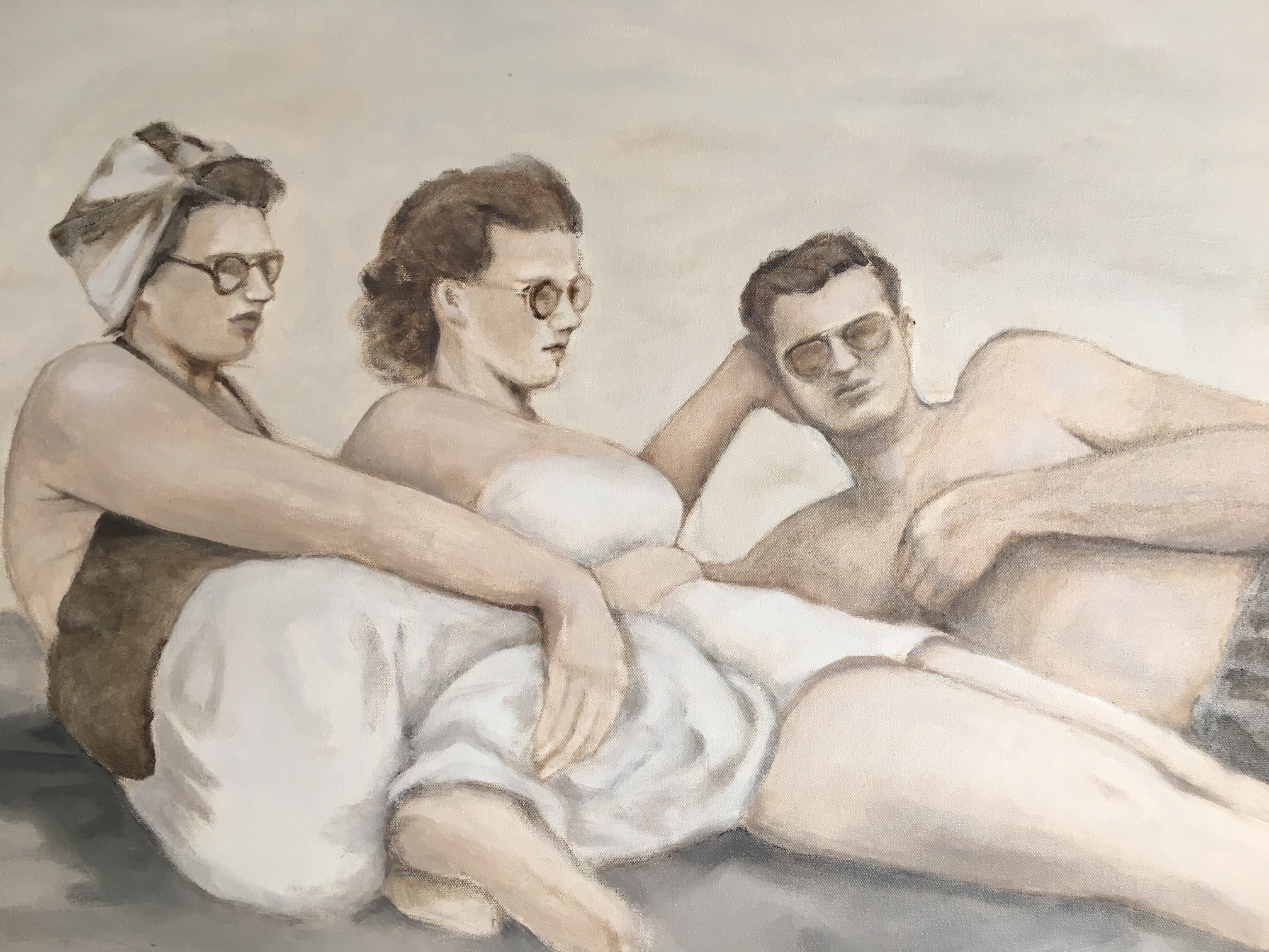 """Three Friends, 2016,oil on canvas, 36"""" x 24"""" inches"""