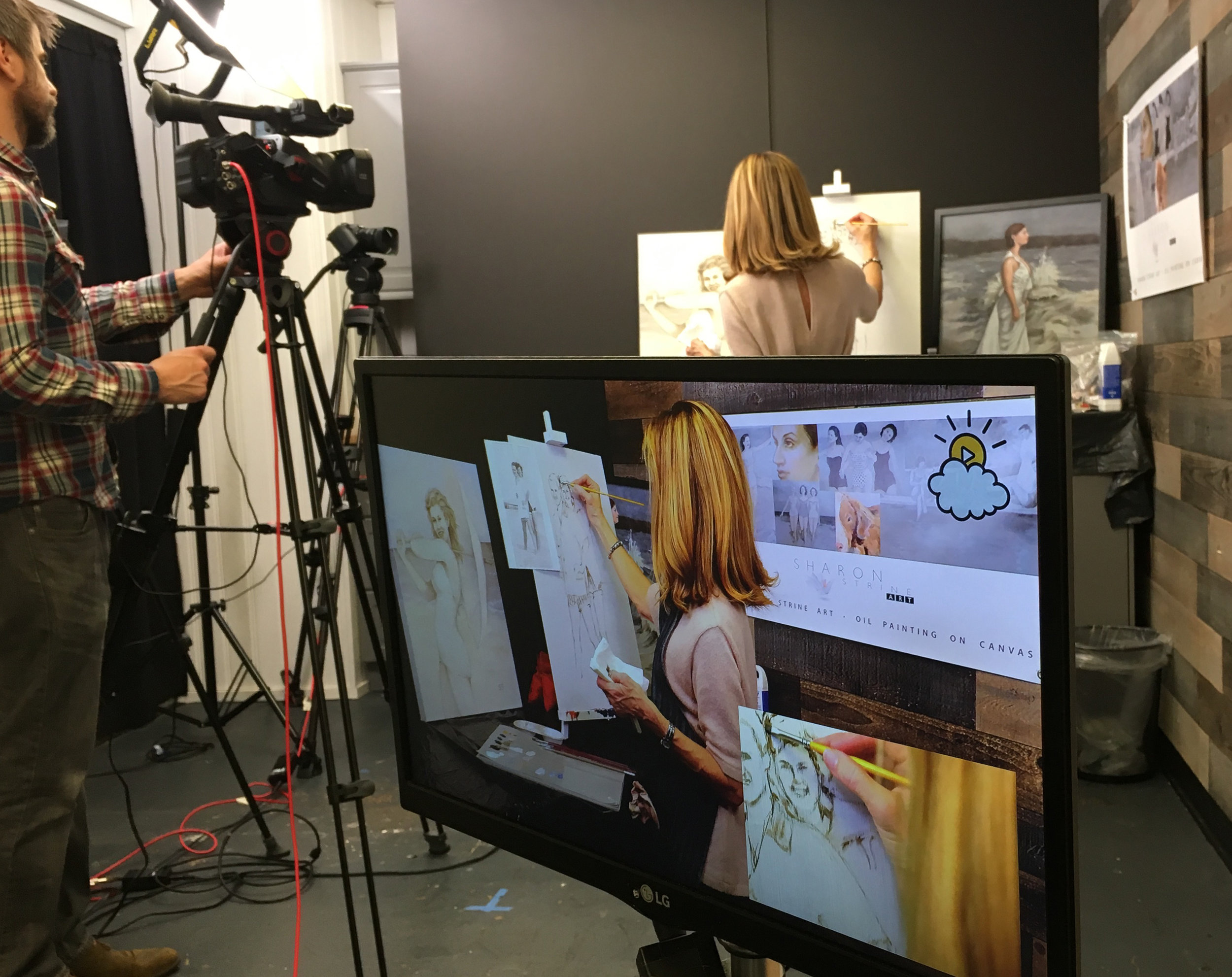 Painting at the LittleThings broadcasting studio in New York on Saturday, April 15.