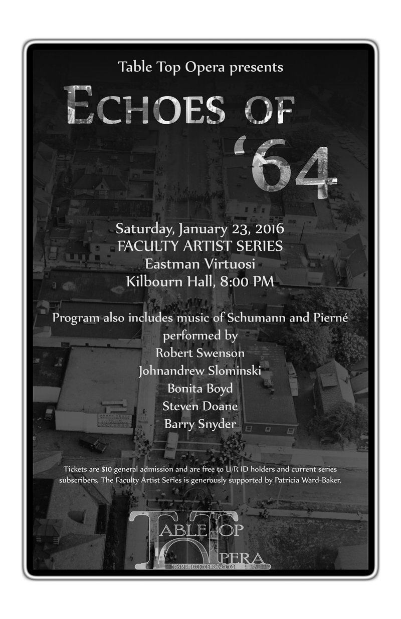 Poster for our latest Echoes of '64 performance.