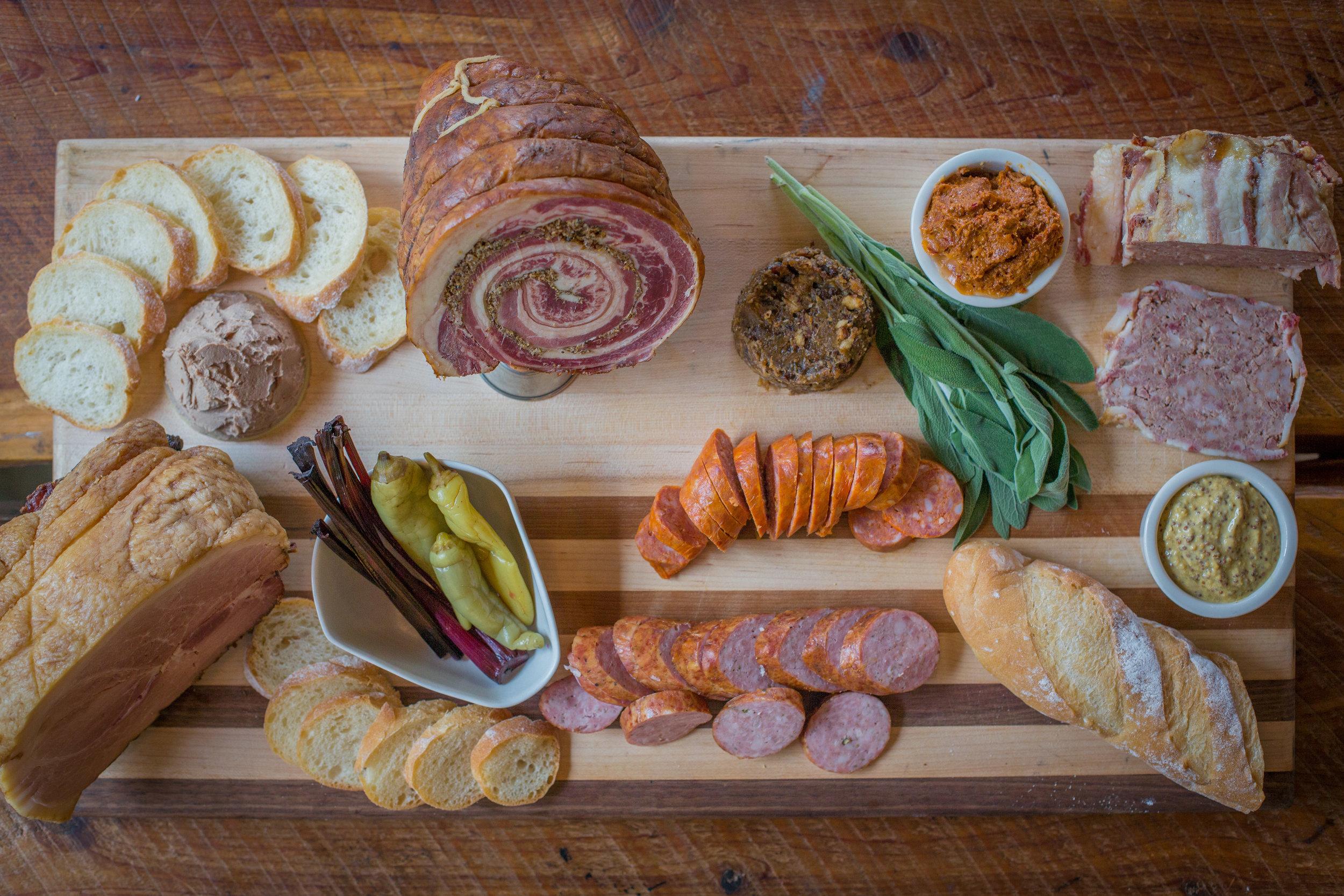 Chicken Liver Mousse, Smoked Molasses Ham, Pastrami, Kielbasa, Smoked Chorizo, Bacon Onion Jam, Nduja, Country Pate