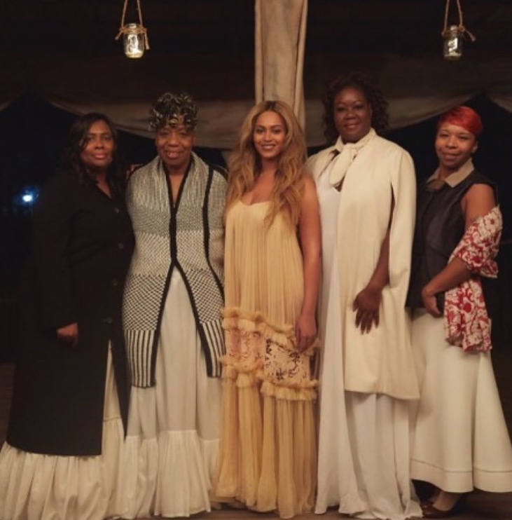 My favorite image from behind the scenes. The picture includes Beyoncé with mothers of victims of police brutality. In the visual, Beyoncé incorporates these women aesthetically in her moment of overcoming pain - a parallel to them having to deal with their pain under the media-scope.