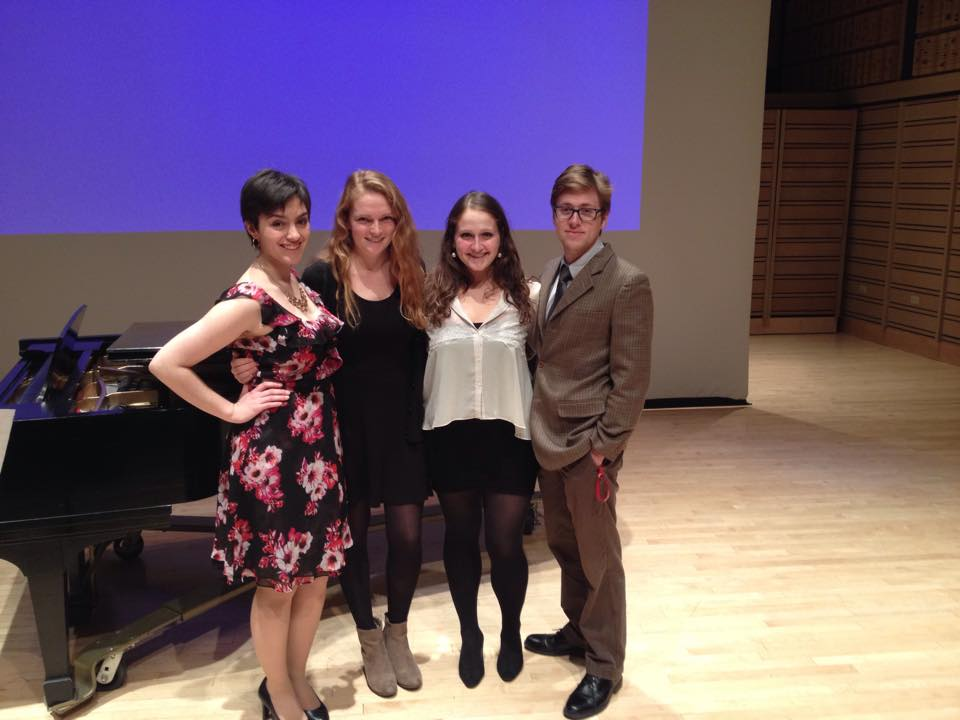 Ann with her peers before the Dickinson College Music Colloquium 2014.  Left to right: Jamie Leidwinger, Isabel Burlingame, Ann Fogler, and Nicholas Cardelia.