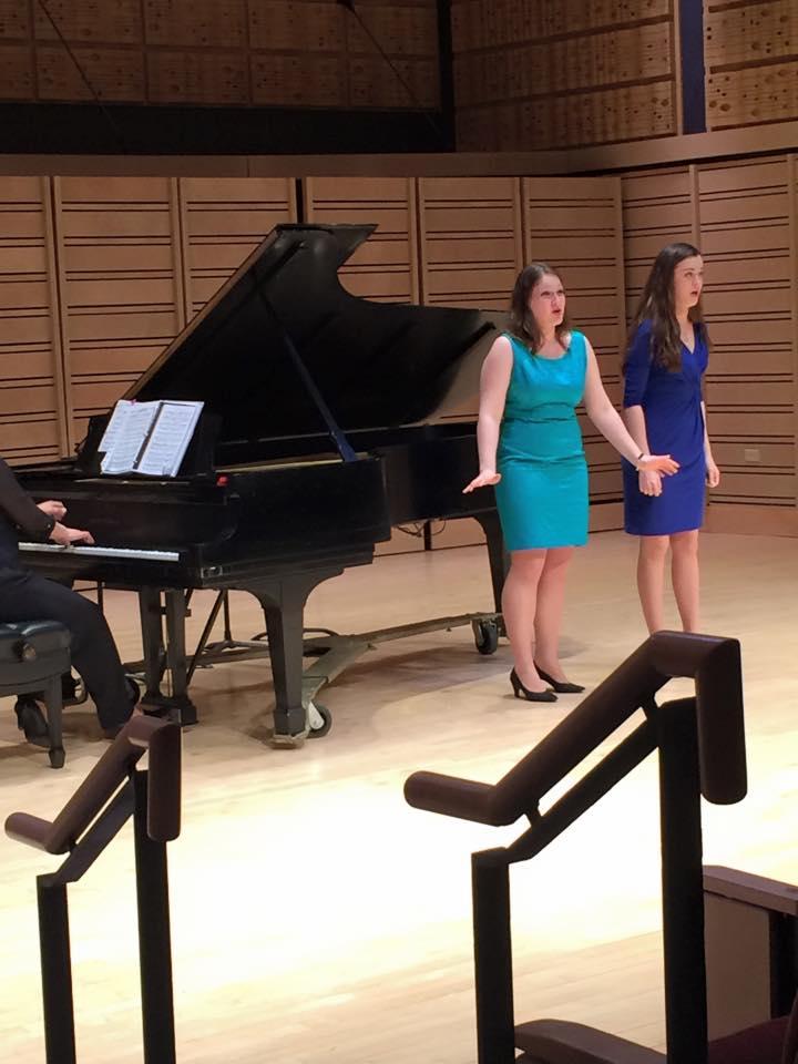 "Ann Fogler,Sara Tillett, and Professor Eun Ae Baik-Kimperforming ""Prenderò quel brunettino"" at Dickinson College Rubendall Recital Hall."