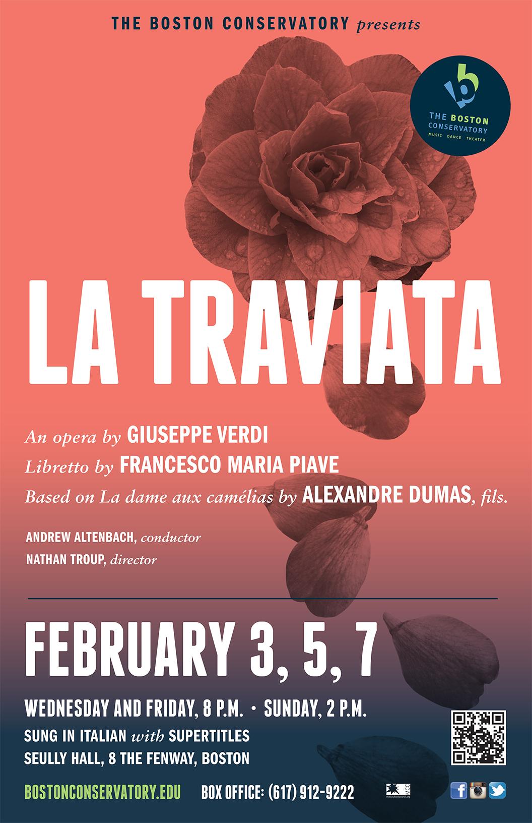 Flyer for La Traviata at The Boston Conservatory 2016