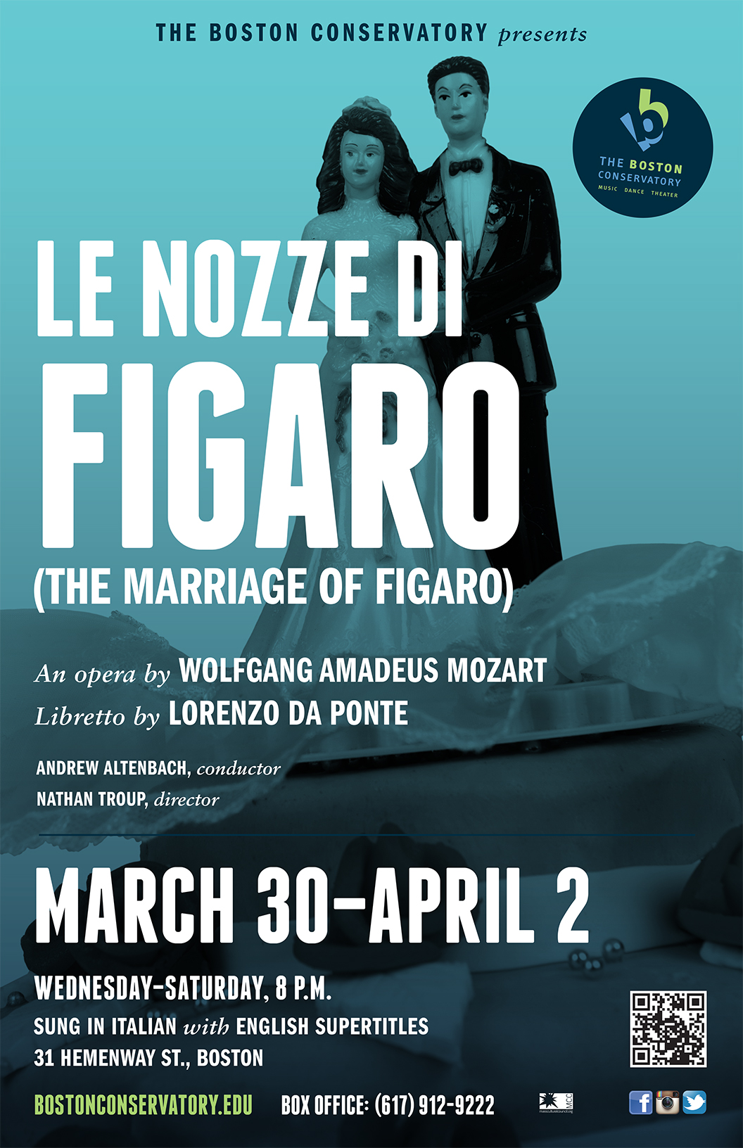 The Boston Conservatory's official poster for its production of  Le Nozze Di Figaro .