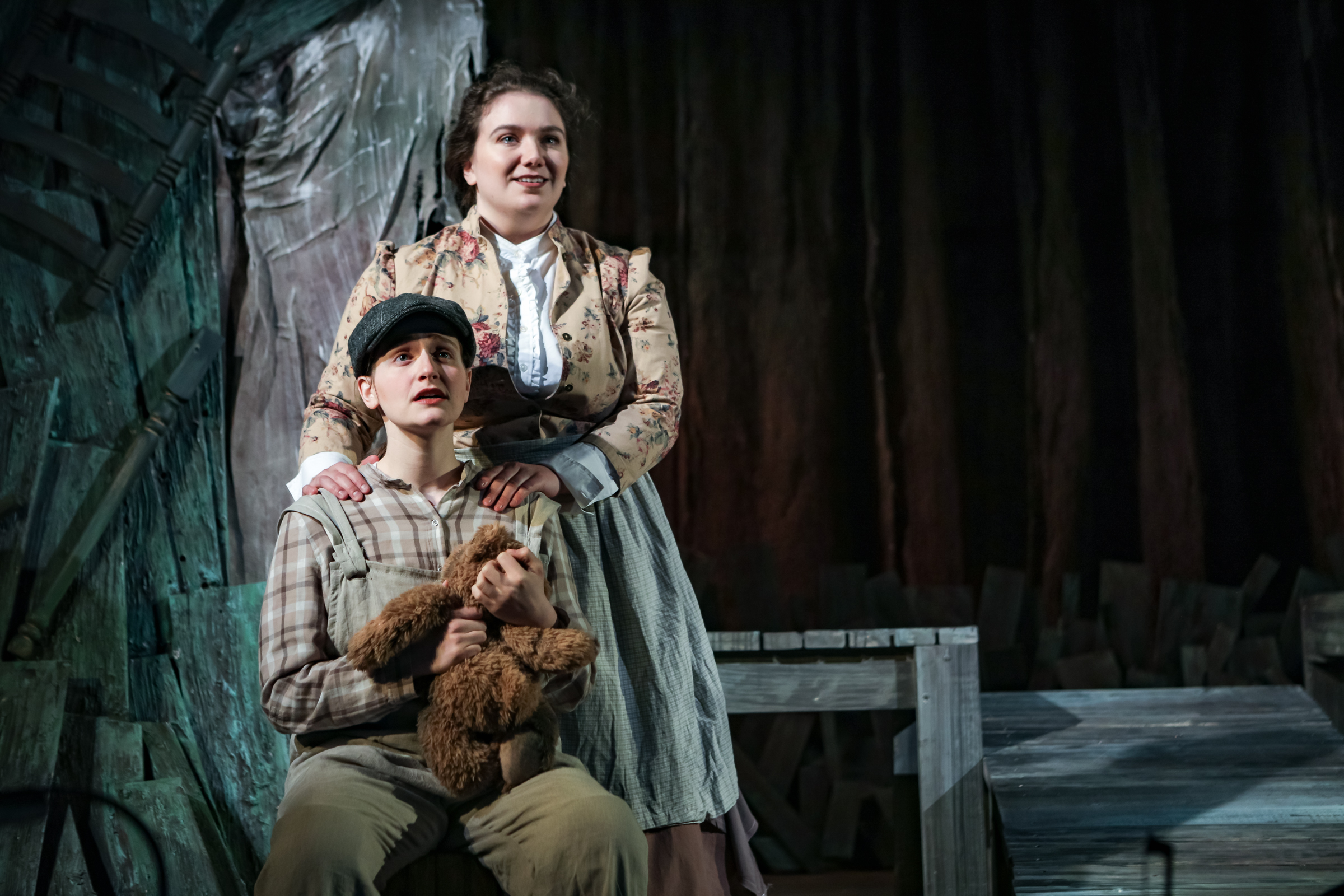 Ann Fogler as Brother and Emily Harmon as Auntie in  The Scarlet Ibis .  Boston Opera Collaborative; January 2019.  Photo Credit: Dan Busler