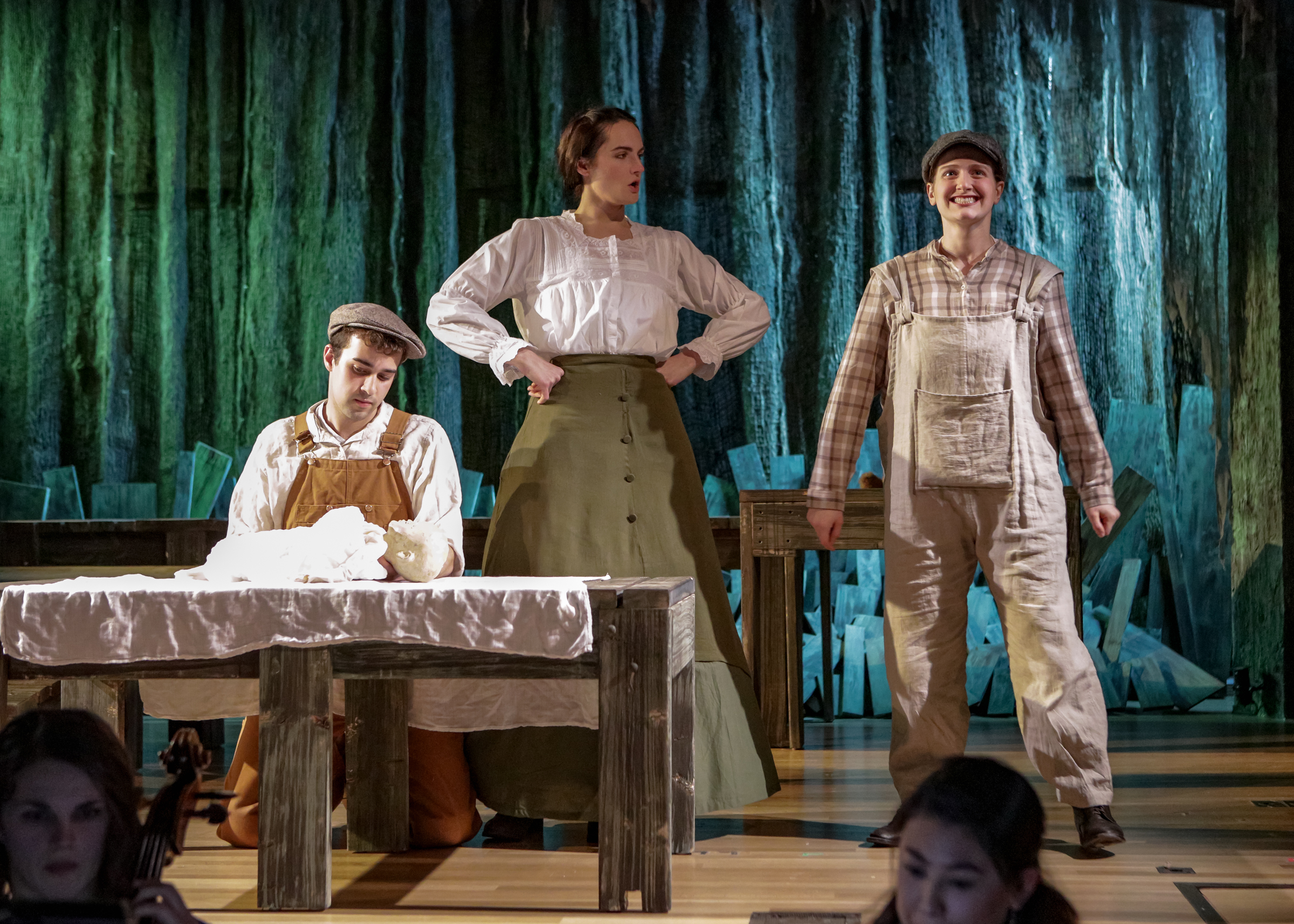 Ann Fogler as Brother, Luca Coura as Doodle, and Britt Brown as Mother in  The Scarlet Ibis .  Boston Opera Collaborative; January 2019.  Photo Credit: Dan Busler
