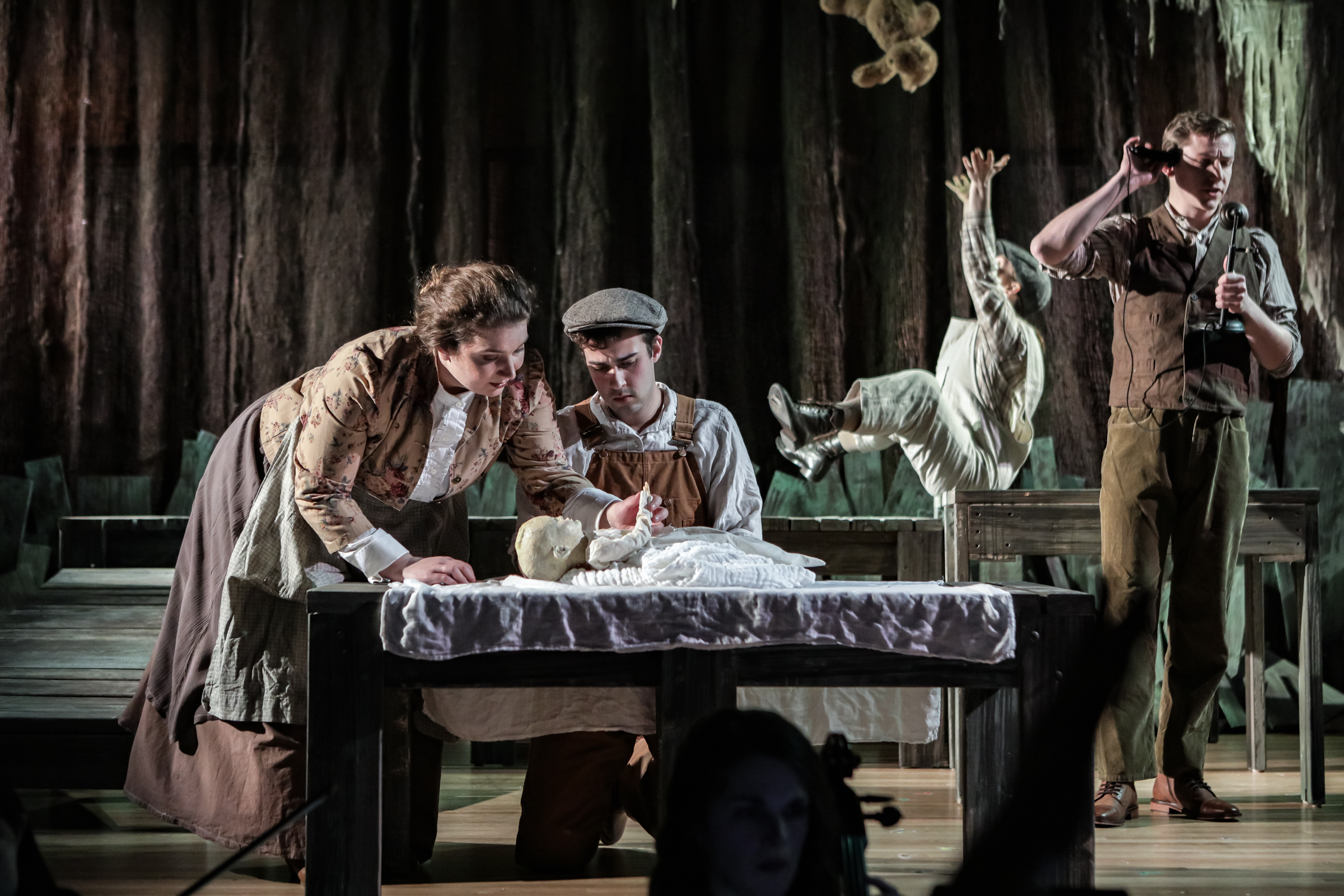 Ann Fogler as Brother, Emily Harmon as Auntie, Scott Ballantine as Father, and Lucas Coura as Doodle in  The Scarlet Ibis .  Boston Opera Collaborative; January 2019.  Photo Credit: Dan Busler