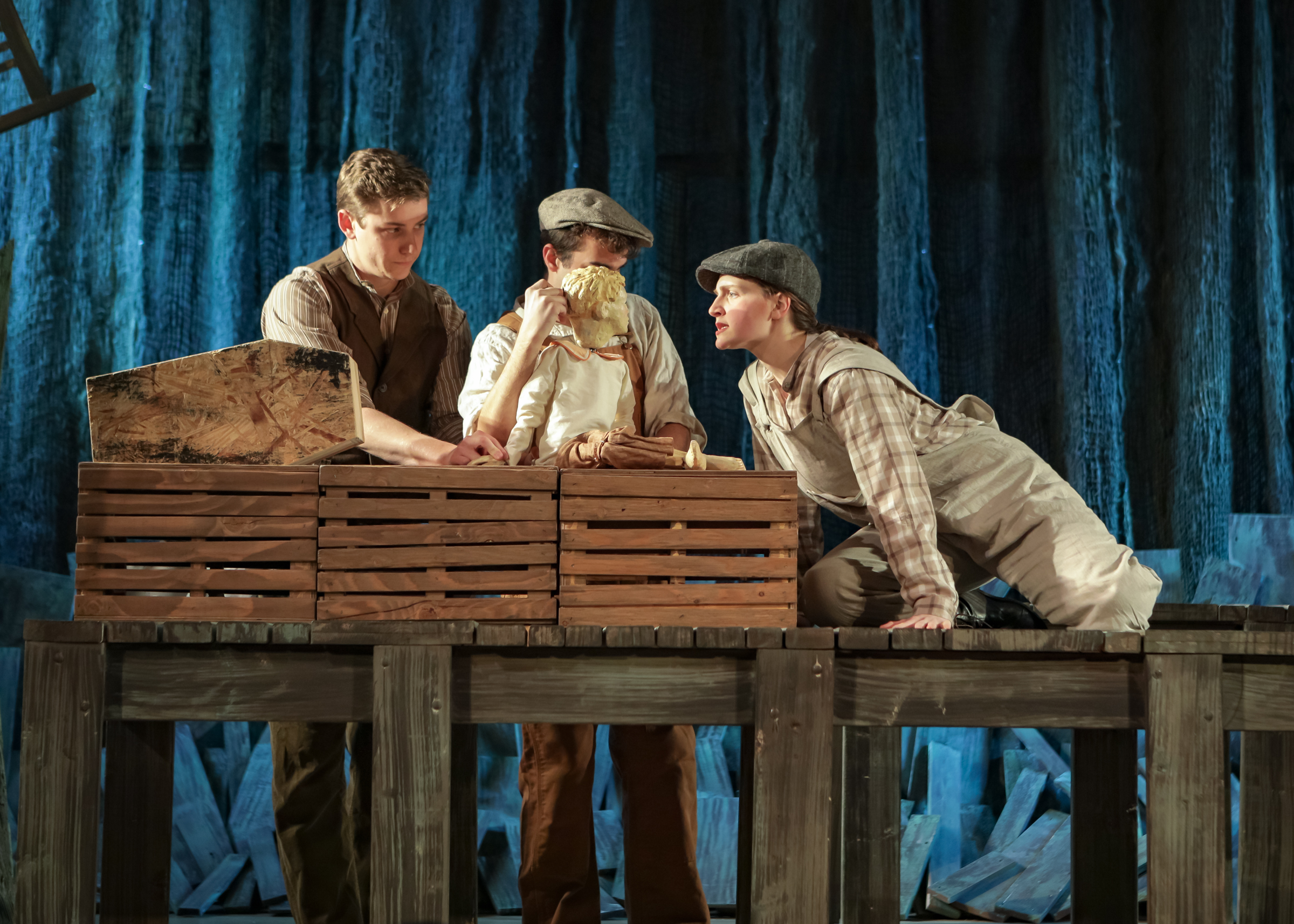 Ann Fogler as Brother, Scott Ballantine as Father, and Lucas Coura as Doodle in  The Scarlet Ibis .  Boston Opera Collaborative; January 2019.  Photo Credit: Dan Busler