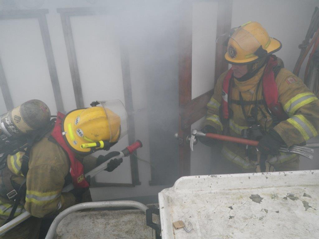A simulated fire on a real boat