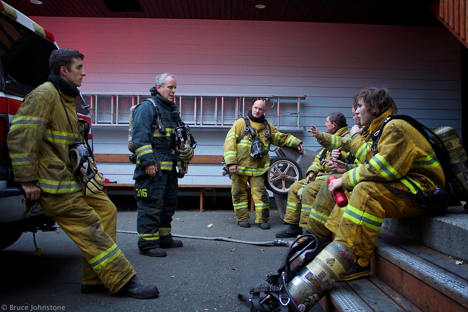 Lieutenant Barrow training new recruits at the Comox Fire Training Centre