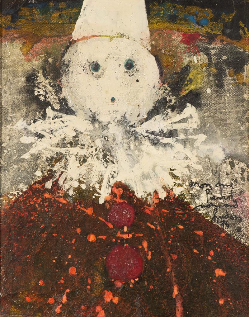 """Mon ami Pierrot  Huile/Toile 10x8"""" // 25,4x20,32 cm 1976"""