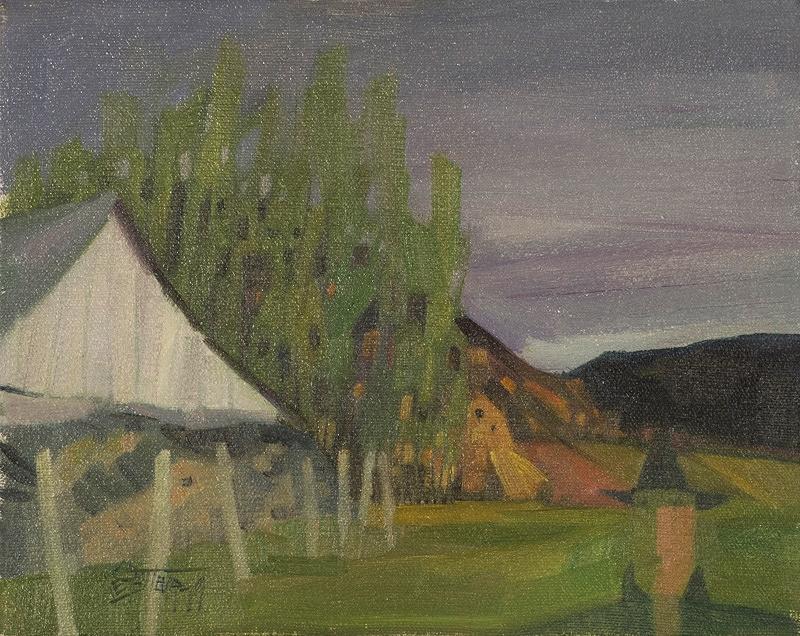 """La grange   à  Gédéon  Huile/Toile 8x10"""" // 20,32x25,4 cm 1979"""