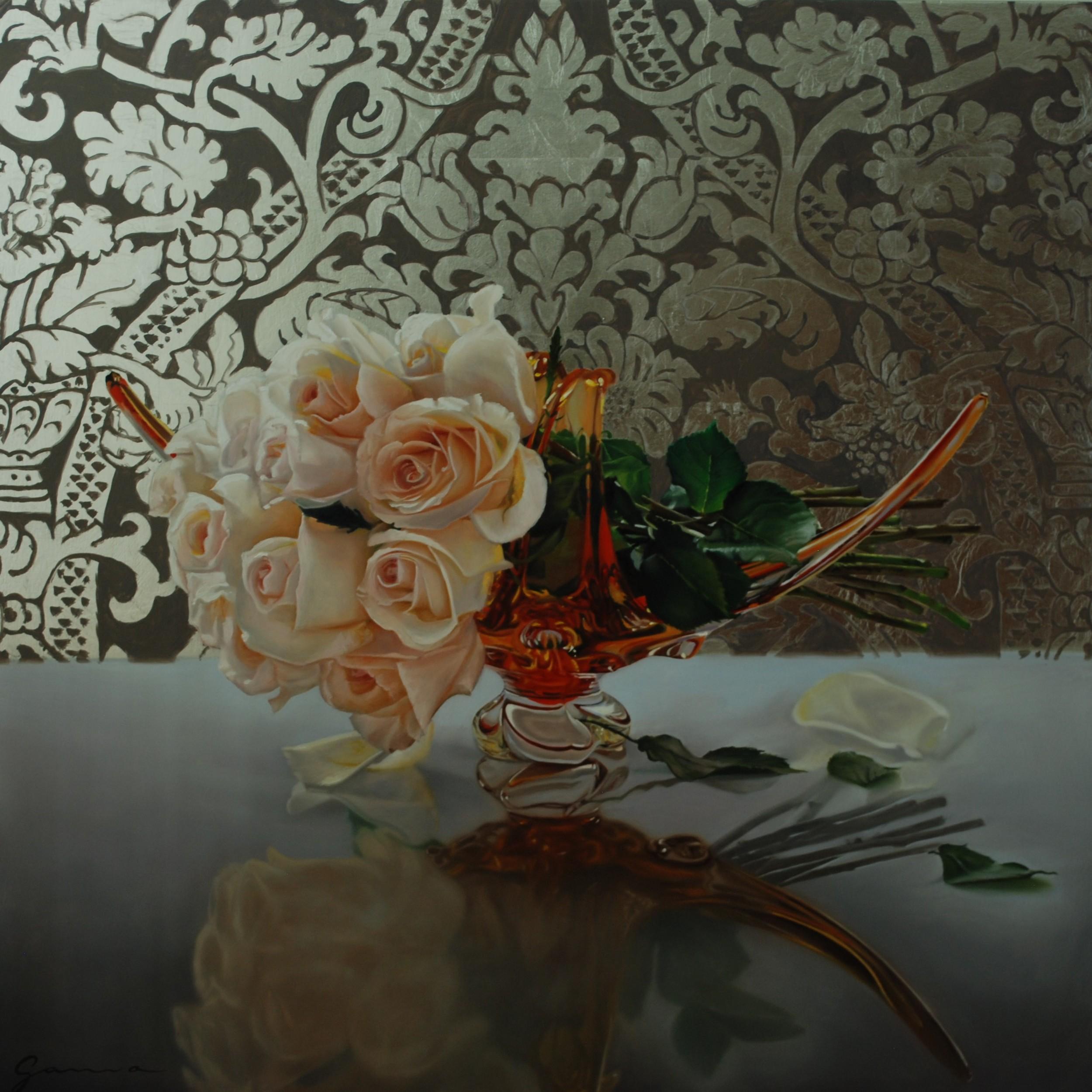 """Rose vintage  Huile & feuille d'argent/Panneau 24x24"""" // 60,96x60,96 cm"""