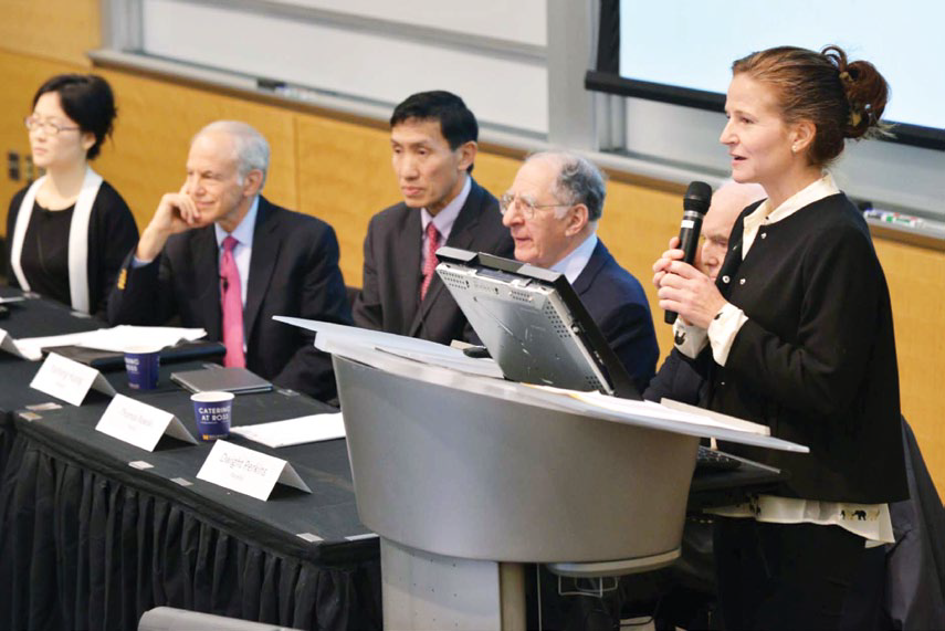 Dernberger Symposium (2015) left to right: Yuen Yuen Ang, Kenneth Lieberthal, Yasheng Huang, Thomas Rawski, Dwight Perkins, Mary Gallagher. Symposium photos by Peter Smith.
