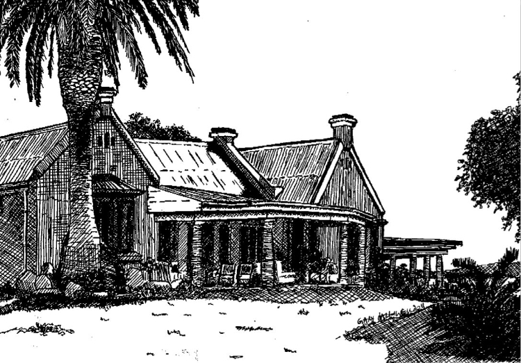 Ink sketch of the old cape-dutch farmhouse at Gorah Elephant Camp near Port Elizabeth.