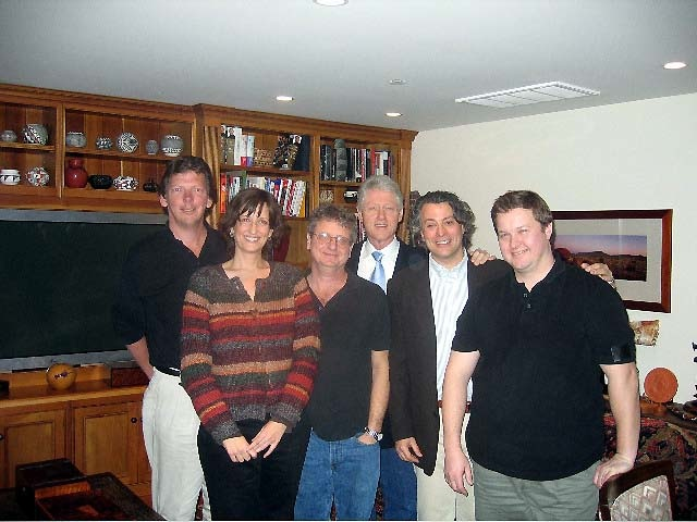 With Bill Clinton and crew, producing PSA for Golden Globes about Indonesian tsunami victims, 2004