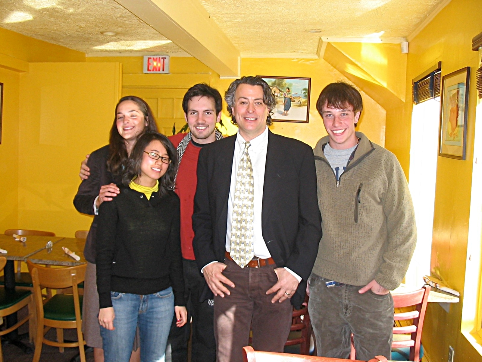 Martin with students, after speaking at Brown University, February of 2006.