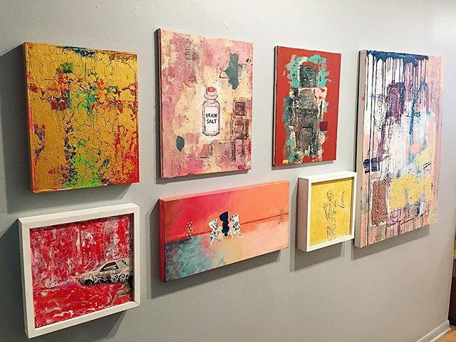now on view at Galleryna19. @ferrarisheppard + @reishag19 #mixedmedia