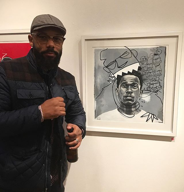 "a beautiful soul who creates beautiful works of art. @dovie_golden pictured here with his piece ""Passion of Anxiety"" my fav of his solo show, currently on view @elephantroomgallery"