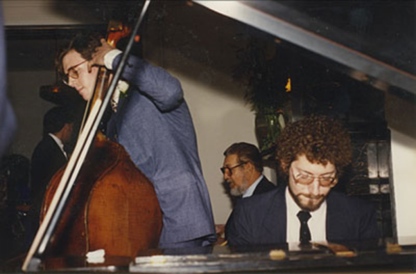 Steve Ash at the piano at a private function in 1988. With Neal Miner on bass and legendary drummer Vernell Fournier.