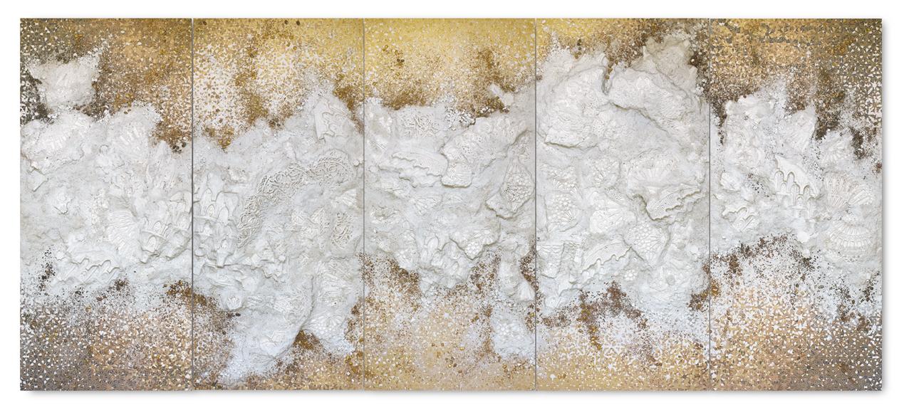 untitled - 5 panel Gold #2 -Acrylic paint, plaster, gravel and salt on wood - 188 cm x 430 cm x 10 cm - 2018